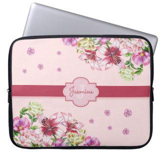 Lilien-u. Pfingstrosen-Blumenrosa Laptopschutzhülle