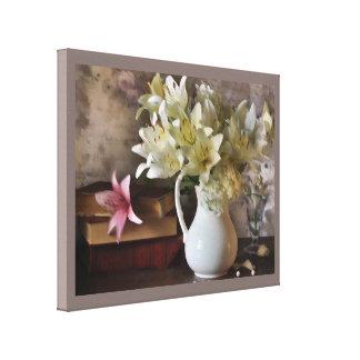 Lilien und Buch-Leinwanddruck Leinwanddruck