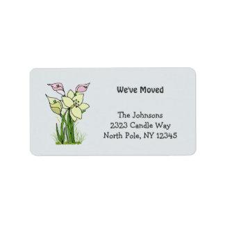 Lilienen-neue Adresse Adress Aufkleber