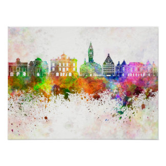 Lille skyline im Watercolor background Poster