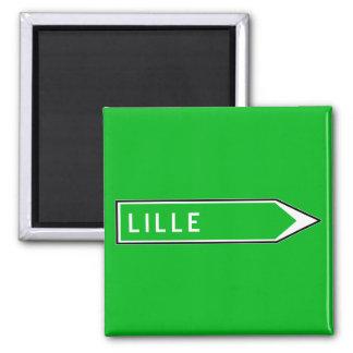 Lille, Verkehrsschild, Frankreich Quadratischer Magnet