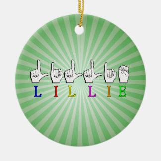 LILLIE FINGERSPELLED ASL NAMENSzeichen Keramik Ornament