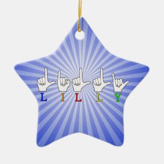 LILLY ASL FINGERSPELLED NAMENSzeichen Keramik Ornament