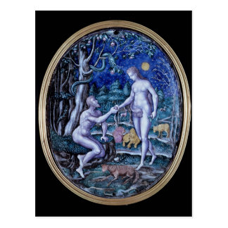 Limoges-Plakette, die Adam und Eve, c.1570 Postkarte