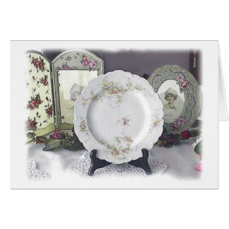 Limoges und rosa Rosen Karte