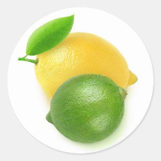 Limon und Zitrone Runder Aufkleber