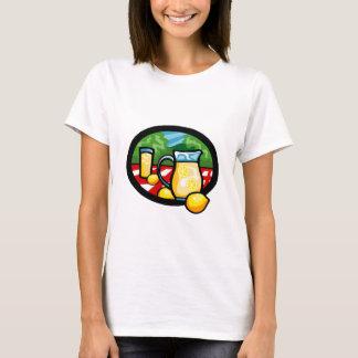 Limonade-Picknick-Krug-Zitronen-Gingham-Karo T-Shirt