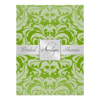 Limone Damast-Brautparty-Monogramm-Einladung