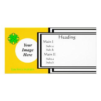 Limone grüne Klee-Band-Schablone Photo Karte