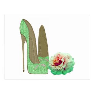 Limone grüne Spitze-Stilett-Schuh-und Rosen-Kunst Postkarten