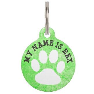 Limone grüne Tatzen-Druck-Hundenamen-Umbau-und Haustiermarke
