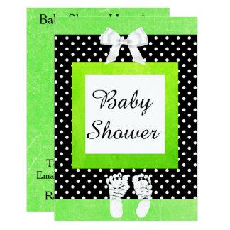 Limone grüne u. schwarze Polka-Punkt-Baby-Dusche 8,9 X 12,7 Cm Einladungskarte