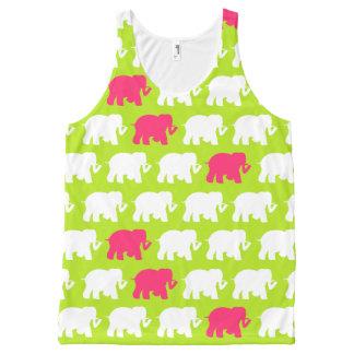 Limone grüne und rosa Elefanten Komplett Bedrucktes Tanktop