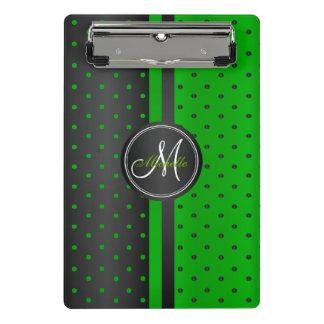 Limone grüne und schwarze Polka-Punkte - Monogramm Mini Klemmbrett