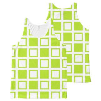Limone grüne und weiße Quadrate Komplett Bedrucktes Tanktop