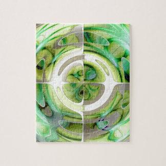 Limone und grüne abstrakte Collage Puzzle