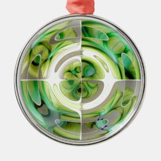 Limone und grüne abstrakte Collage Rundes Silberfarbenes Ornament