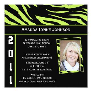 Limone und schwarze quadratische 13,3 cm einladungskarte