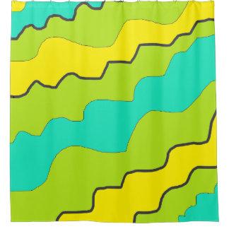 Limoner grüner, gelber und aquamariner duschvorhang