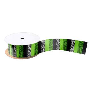 Limoner grüner Leopard-und Zebra-Tierdruck Satinband