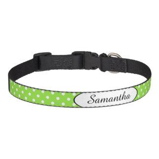 Limoner grüner Polka-Punkt personalisiert Haustierhalsband