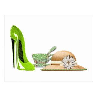 Limoner grüner Stilett-Schuh, Hut und Teacup-Kunst Postkarte
