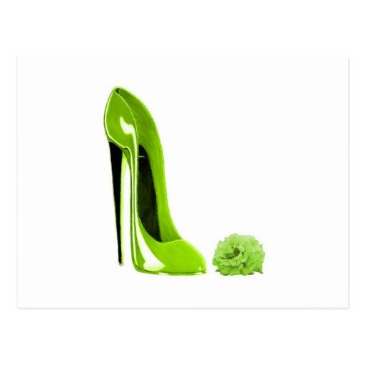 Limoner grüner Stilett-Schuh Postkarten