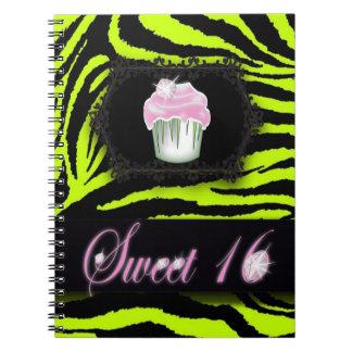 Limoner grüner Zebradruck Rosa-kleiner Kuchen 16. Spiral Notizblock