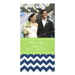 Limones Blau dankt Ihnen Hochzeits-Foto-Karten Photokartenvorlage