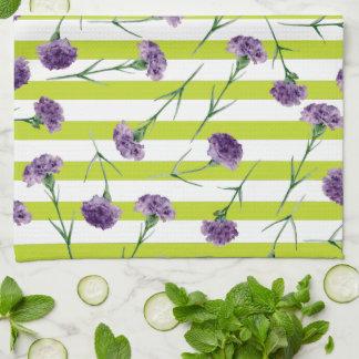 Limones Grün Stripes lila Gartennelken-Muster Handtuch