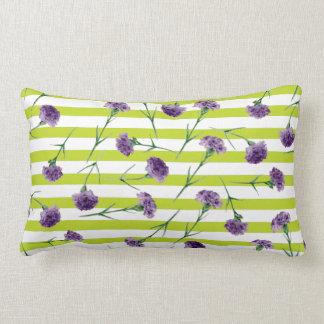Limones Grün Stripes lila Gartennelken-Muster Lendenkissen