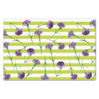 Limones Grün Stripes lila Gartennelken-Muster Seidenpapier