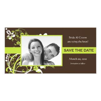 Limones Grün und Foto-Karten Browns Save the Date Fotokarte