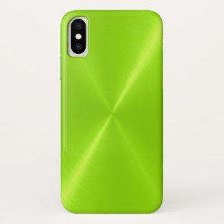 Limones grünes glänzendes rostfreier Stahl-Metall iPhone X Hülle