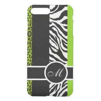 Limones grünes Leopard-und Zebra-Tier-Monogramm iPhone 8 Plus/7 Plus Hülle