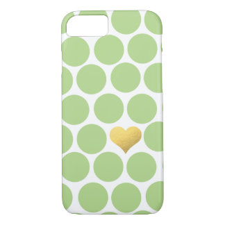 Limones grünes Polka-Punkt-Goldfolien-Herz iPhone iPhone 8/7 Hülle
