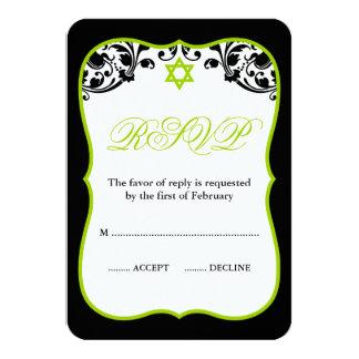 Limones grünes und schwarzes Wirbels-Schläger 8,9 X 12,7 Cm Einladungskarte