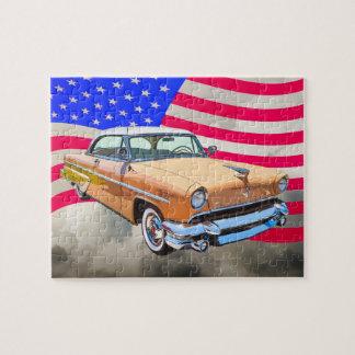 Lincoln 1955 Capri mit amerikanischer Flagge Puzzle