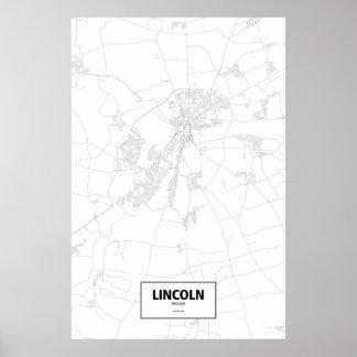 Lincoln, England (Schwarzes auf Weiß) Poster