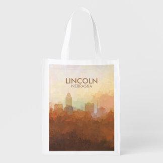Lincoln, Nebraska-Skyline in den WOLKEN Wiederverwendbare Einkaufstasche
