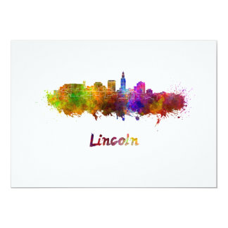 Lincoln skyline im Watercolor Karte