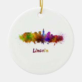 Lincoln skyline im Watercolor Keramik Ornament