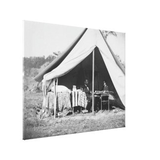 Lincoln u. GEN McClellan auf Schlachtfeld Antietam Leinwanddruck