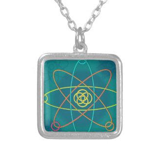 Linie Atomstruktur Halskette Mit Quadratischem Anhänger