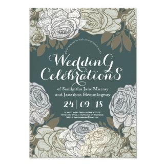 Linie, die Rosen-Frühlings-Hochzeits-Karte 12,7 X 17,8 Cm Einladungskarte