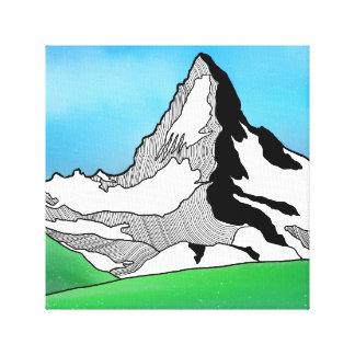 Linie Kunst-Aquarell Matterhorns die Schweiz Leinwanddruck