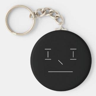 Linie smiley-ernster einfacher weißer schwarzer schlüsselanhänger