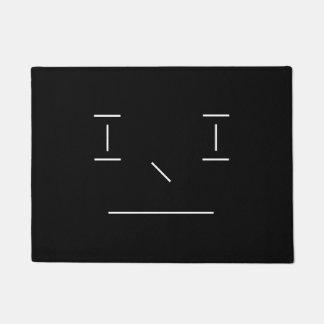 Linie smiley-ernster einfacher weißer schwarzer türmatte