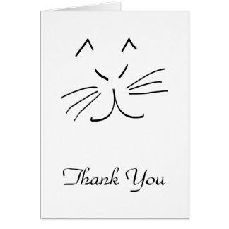 Linie Zeichnen einer Katze danken Ihnen zu Karte
