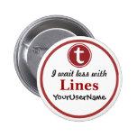 Linien Knopf - Entwurf 1 (Weiß) Anstecknadel